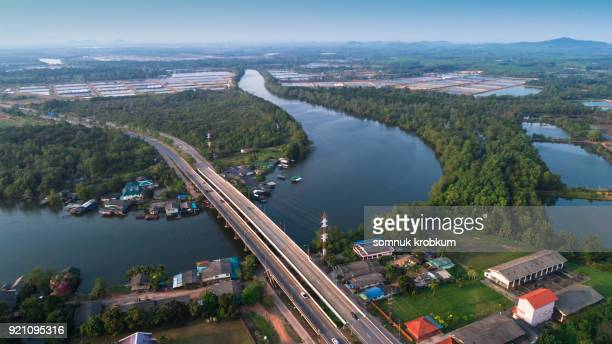 Aerial view bridge road and river by drone in Trat province;Thailand