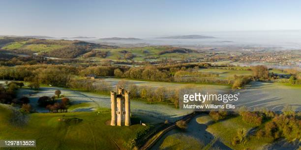 Aerial view, Broadway Tower, Cotswold Hills, Cotswald, UK.