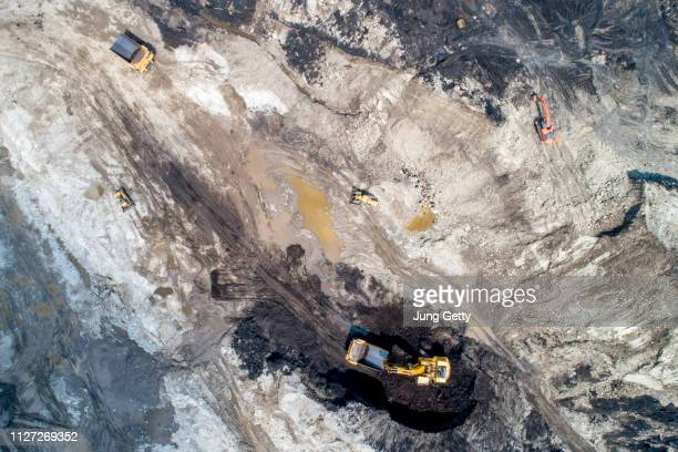 aerial view by drone coal mining industry - ancient civilisation stock pictures, royalty-free photos & images