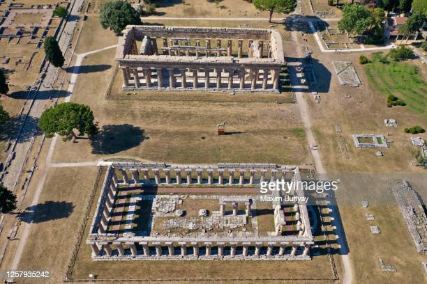 aerial view by drone of ancient greek temples, paestum, italy 3 - ポセイドン ストックフォトと画像