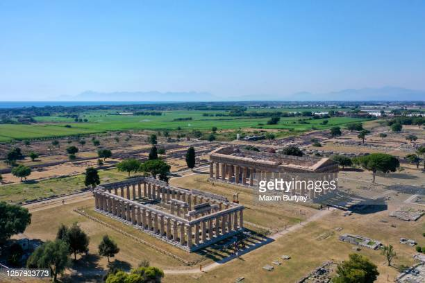 aerial view by drone of ancient greek temples, paestum, italy 7 - ポセイドン ストックフォトと画像