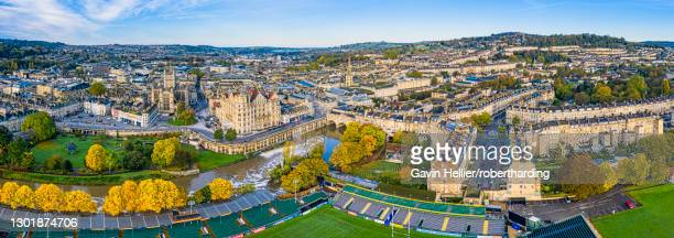aerial view by drone of bath city center and river avon, bath, somerset, england, united kingdom, europe - gavin hellier stock pictures, royalty-free photos & images