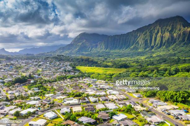 aerial view by drone of kailua town, oahu island, hawaii, united states of america, north america - kailua stock pictures, royalty-free photos & images