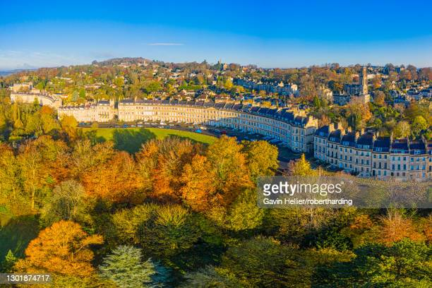 aerial view by drone over the georgian city of bath and lansdown cresent, somerset, england, united kingdom, europe - gavin hellier stock pictures, royalty-free photos & images