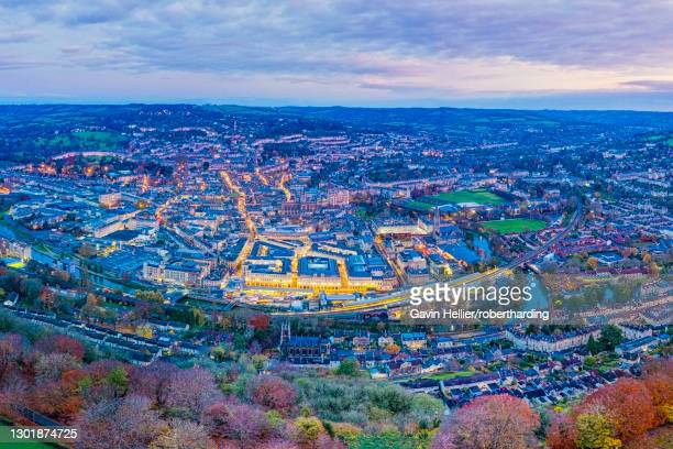aerial view by drone over the georgian city of bath, somerset, england, united kingdom, europe - gavin hellier stock pictures, royalty-free photos & images