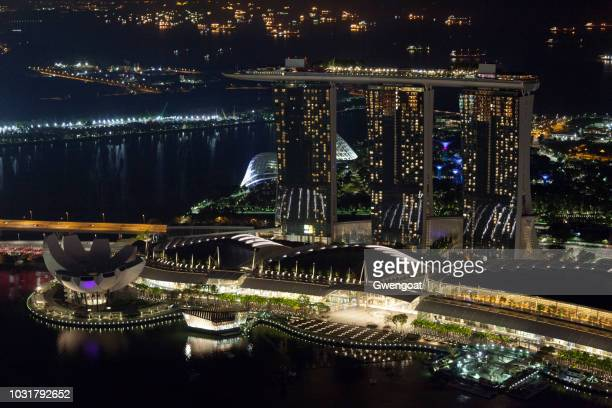 Aerial view by night of Marina Bay Sands in Singapore