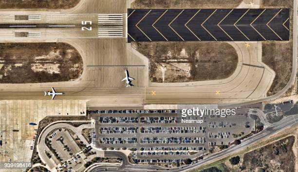 Aerial view, California, carpark, City, Cityscape, geometry shapes, Los Angeles, Outdoors, Overhead View, Photography, road, Santa Barbara, USA, aircraft, airport, runway, airplanes