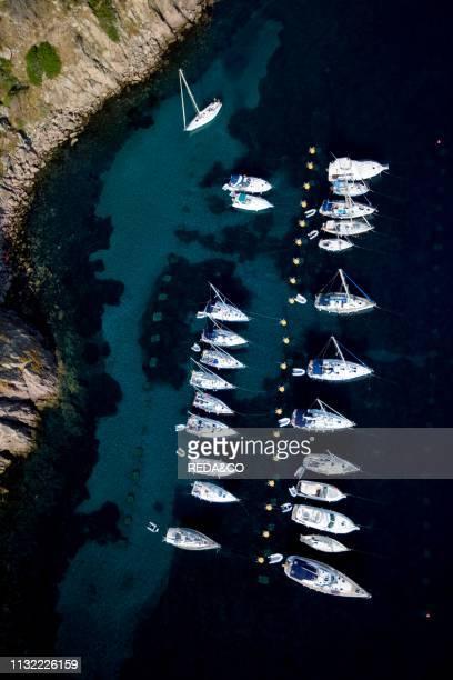 Aerial view Capraia island Tuscany Italy Europe