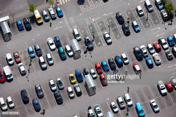 aerial view car park spaces shopping, london uk. - parking stock pictures, royalty-free photos & images