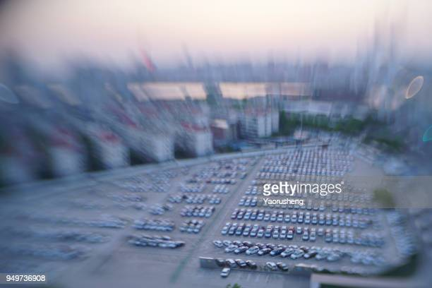 aerial  view car parking lot,shot by tilt and shift lens