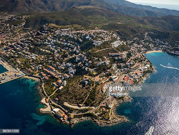 Aerial view, Castell de la Trinitat, fortress from the Middle Ages, Roses, Golf de Roses, Catalonia, Spain