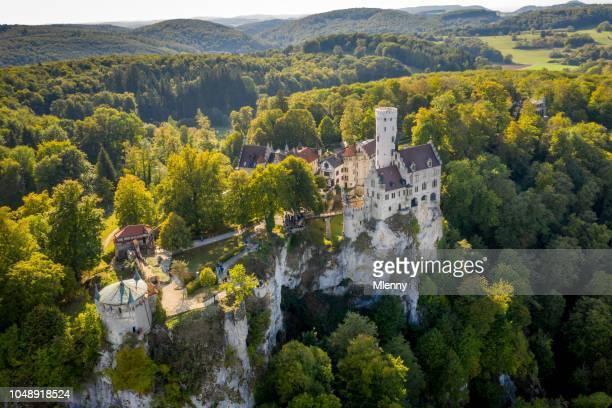 aerial view castle lichtenstein schloss lichtenstein swabian alb - castello foto e immagini stock