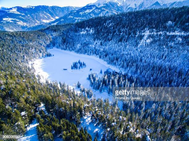 Aerial view Caumasee in winter