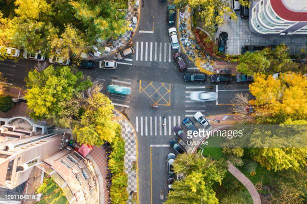 aerial view. city cross road - liyao xie stock pictures, royalty-free photos & images