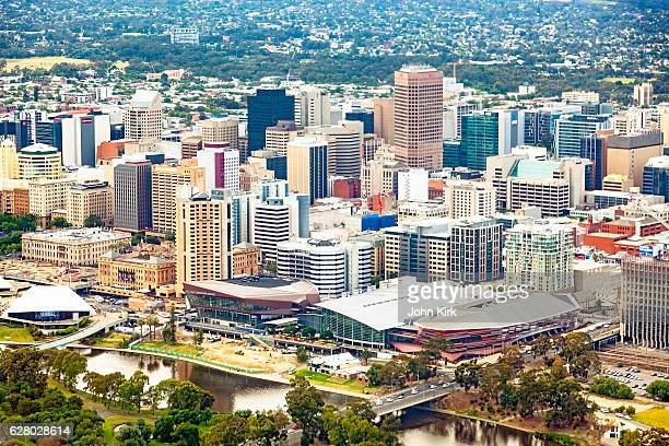 aerial view city of adelaide cbd, torrens river - adelaide stock pictures, royalty-free photos & images