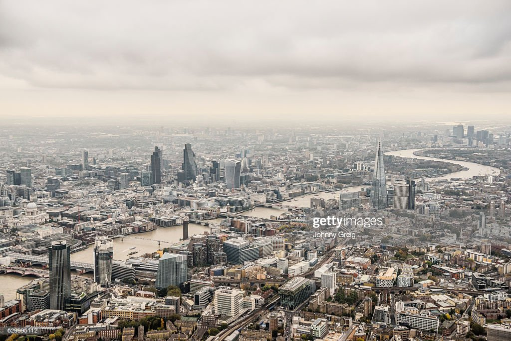 Aerial view City of London on a cloudy day : Stock Photo