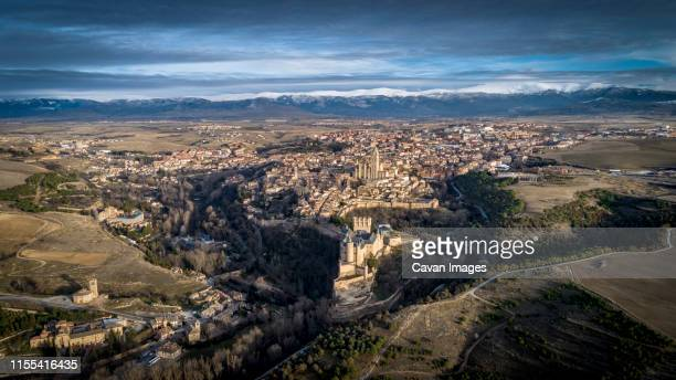 aerial view city of segovia_spain - segovia stock pictures, royalty-free photos & images