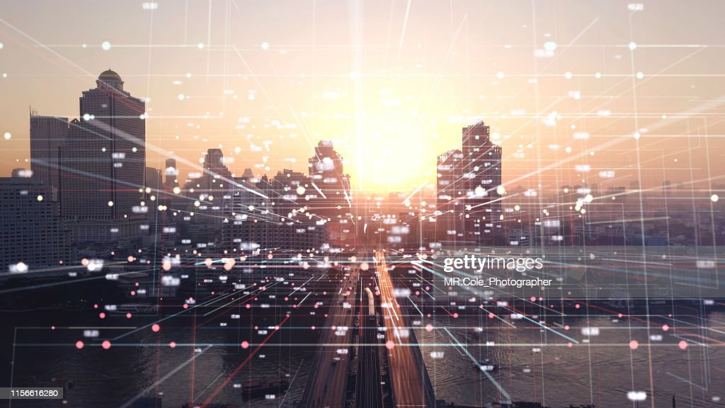 Aerial view city with Internet Connection Technology.networking and communication Concept.wireless technology and internet of things.Smart city Concept.Big data Concept : Stock Photo