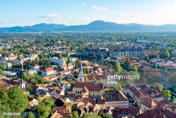 aerial view cityscape,  ljubljana, slovenia - medieval shoes stock pictures, royalty-free photos & images