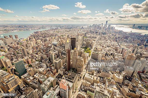 aerial view cityscape manhattan new york city usa - broadway manhattan stock photos and pictures