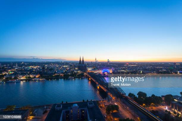 aerial view cityscape of cologne at blue hour - cologne stock pictures, royalty-free photos & images