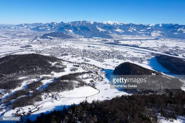 Aerial view community Oberriet Rhine Valley