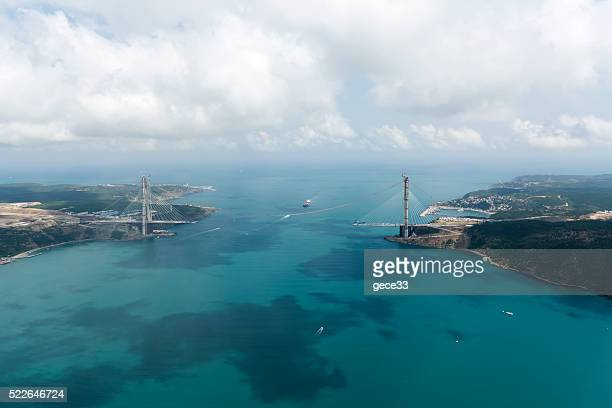Aerial View Construction of the third bridge on Bosporus,Istanbul