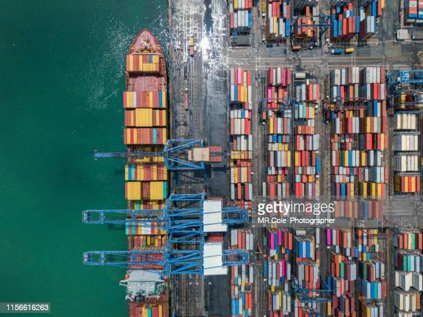 aerial view container cargo ship in terminal port,industry business logistic and transportation in thailand - hamn bildbanksfoton och bilder