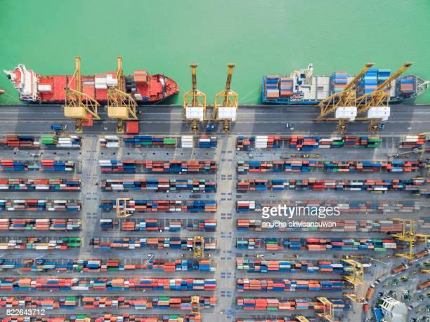 aerial view container harbor with crane , top view . - comercializando - fotografias e filmes do acervo