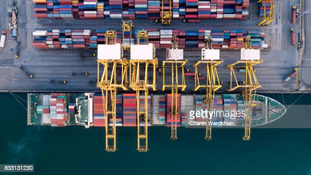 aerial view container harbor with crane, top view