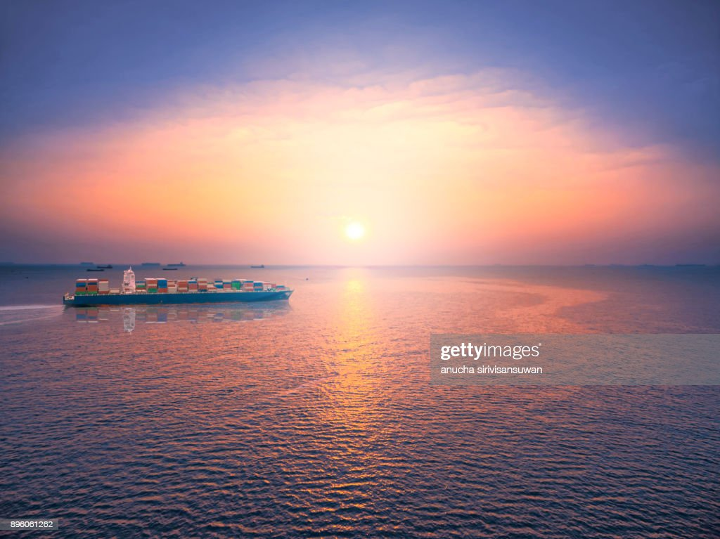 Aerial View Container Ship Shipping Go Out Transportation