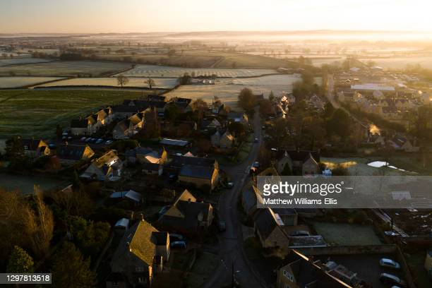 Aerial view, Cotswold Hills, Cotswolds, UK.