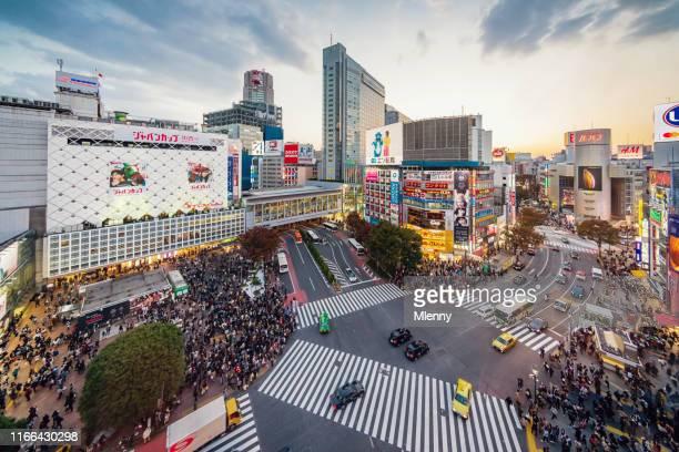 航空写真混雑した東京渋谷クロッシングジャパン - 渋谷 ストックフォトと画像
