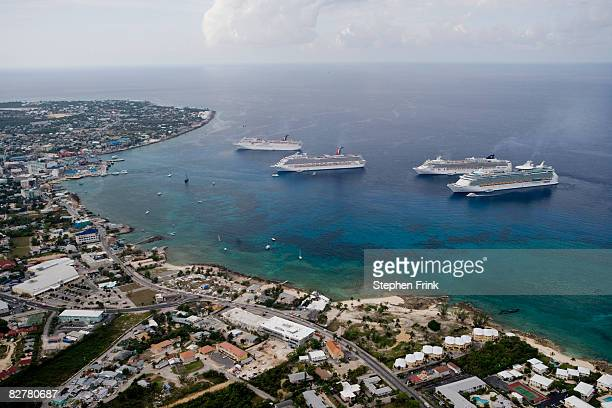 Aerial View Cruise Ships at Anchor