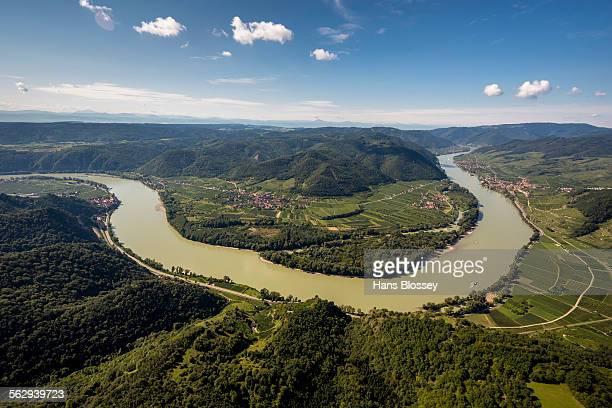 Aerial view, Danube bend, at Durnstein, Lower Austria, Austria