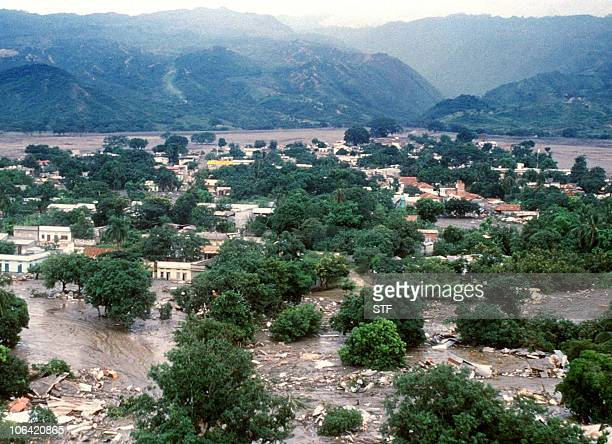 Aerial view dated 18 November 1985 of the town of Armero, 130 kms west of Bogota, submerged by floods after the long-dormant Nevado del Ruiz volcano,...