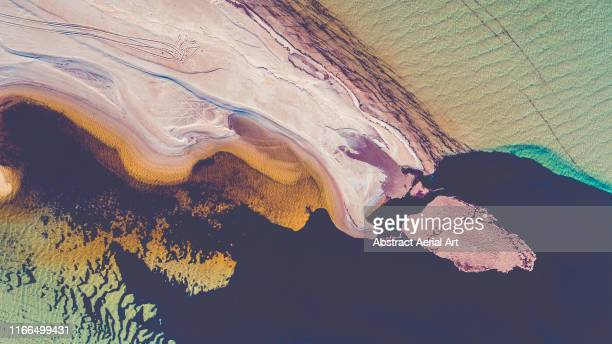 aerial view directly above a sandbar, shark bay, australia - climate stock pictures, royalty-free photos & images