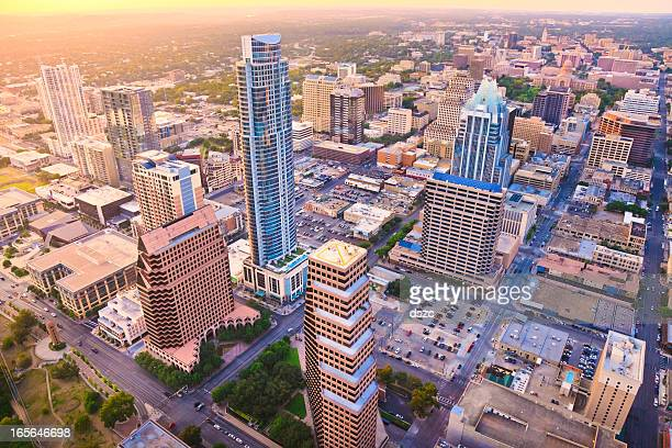 Aerial view, downtown Austin Texas skyline, sunset, from helicopter