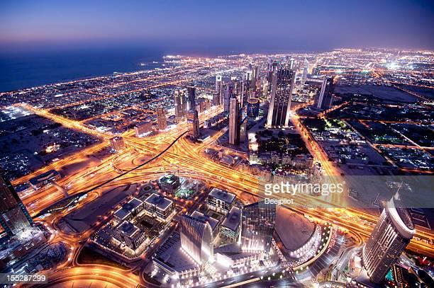 Aerial View Dubai City Skyline in the United Arab Emirates