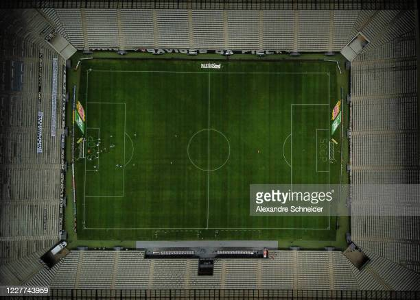Aerial view during a match between Corinthians and Palmeiras as part of Campeonato Paulista at Arena Corinthians stadium on July 22, 2020 in Sao...