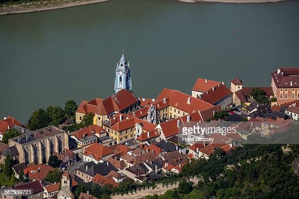 Aerial view, Durnstein Abbey, former monastery, church in blue and white, Durnstein, Lower Austria, Austria