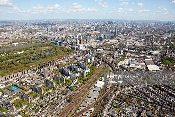 Aerial view east of Battersea power station with the railways