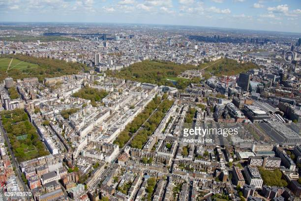 Aerial view east of Buckingham Palace and Green Park. James. London SW1 UK.