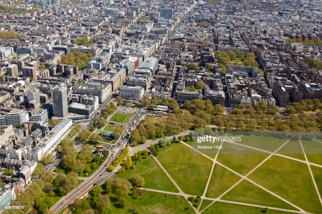 Aerial View East Of Hyde Park Corner And Marble Arch London W1 Uk ...