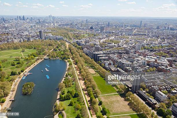 aerial view east of hyde park - hyde park london stock pictures, royalty-free photos & images
