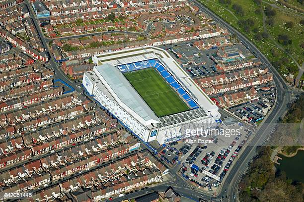 aerial view everton fc's ground, goodison park - liverpool v everton stock pictures, royalty-free photos & images