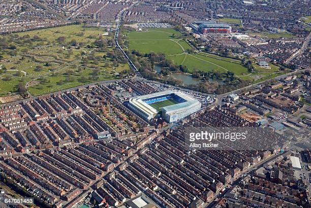 aerial view everton's fc goodison park - liverpool v everton stock pictures, royalty-free photos & images