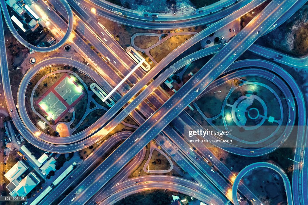 aerial view, Expressway road intersection, traffic in bangkok at night, thailand. : Stock-Foto