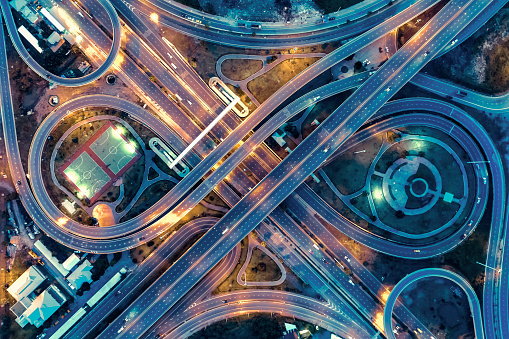 aerial view, Expressway road intersection, traffic in bangkok at night, thailand. - gettyimageskorea