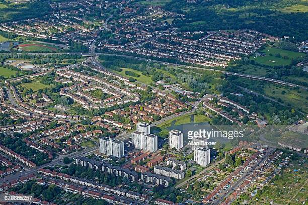 aerial view f the m11 snaresbrook and woodford - redbridge stock pictures, royalty-free photos & images